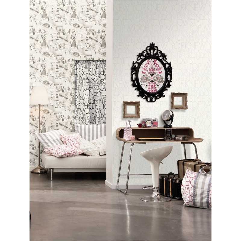 papier peint motif shooting gris love caselio clicjedecore. Black Bedroom Furniture Sets. Home Design Ideas