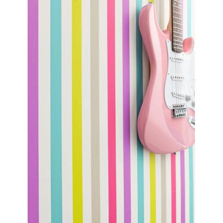 Papier peint à motif Rayure multicolore - Love - Caselio