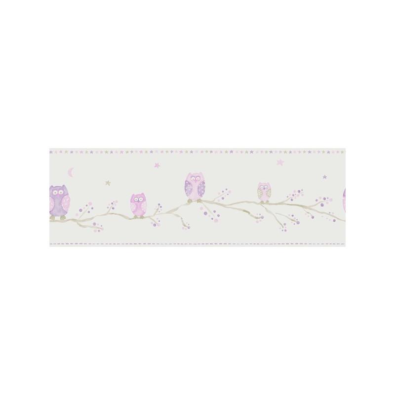Frise Papier Peint Chouettes - mauve - Arc-en-ciel - Casadeco