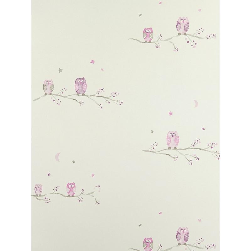 Papier Peint Chouettes mauve - ARC-EN-CIEL - Casadeco - CFT25804162