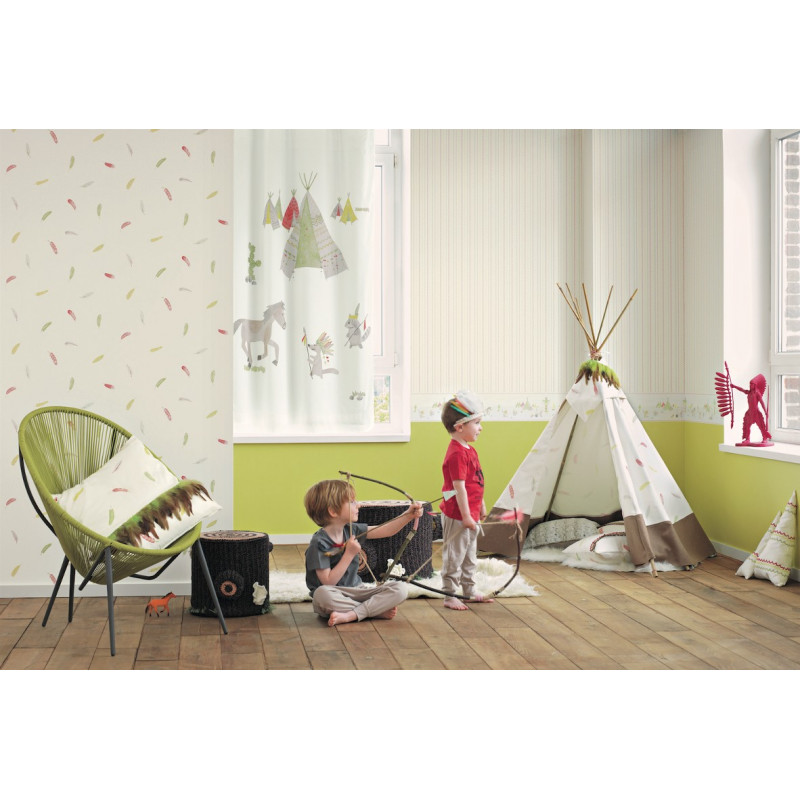 papier peint motifs plumes vert arc en ciel casadeco clicjedecore. Black Bedroom Furniture Sets. Home Design Ideas
