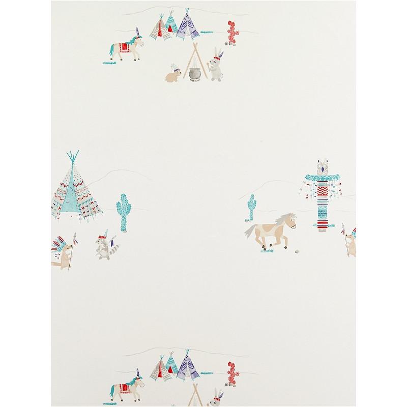 Papier Peint à motifs Indiens - bleu - Arc-en-ciel - Casadeco