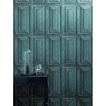 """Papier peint METAPHORE effet """" Moulure porte """" bleu par Caselio"""