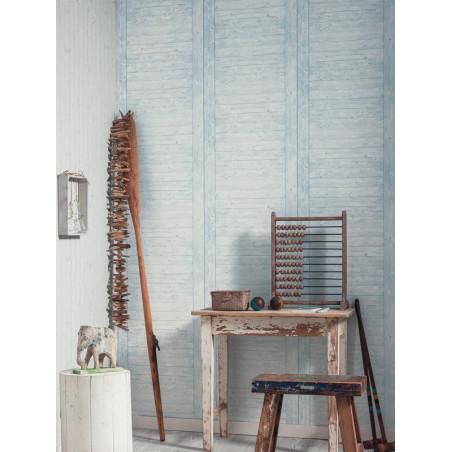 """Papier peint METAPHORE effet """" échelle bois """" gris bleuté par Caselio"""