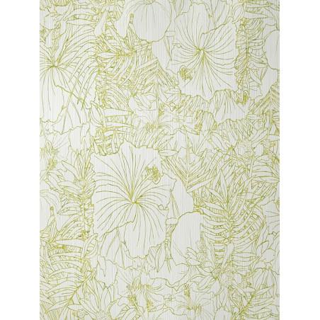 """Papier peint AMAZONIA """"fleurs"""" blanc et vert pomme par Caselio"""