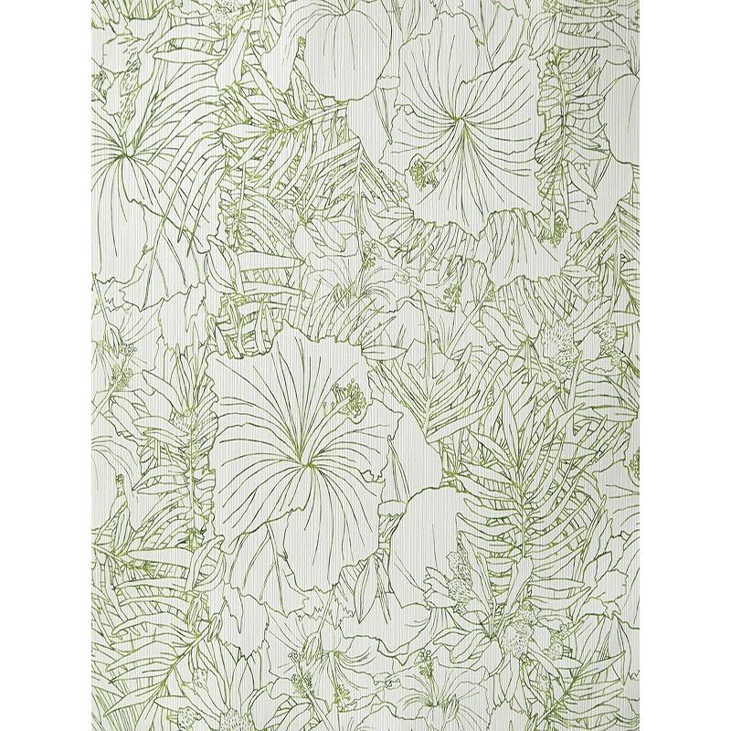 """Papier peint AMAZONIA """"fleurs"""" blanc et vert par Caselio"""