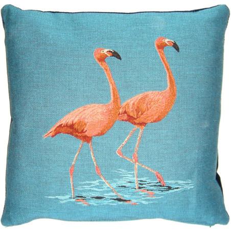 Coussin Duo de flamants roses se promenant - Flamingo - FS HOME par Booster