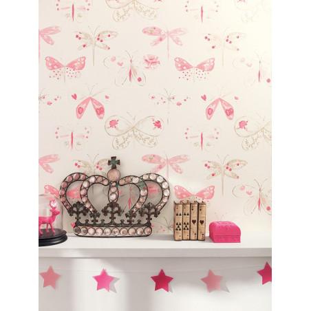"""Papier peint OH LA LA """" Libellules """" rose par Caselio"""