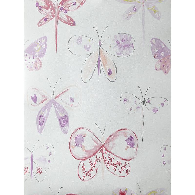 """Papier peint OH LA LA """" Libellules """" rouge et violet par Caselio"""
