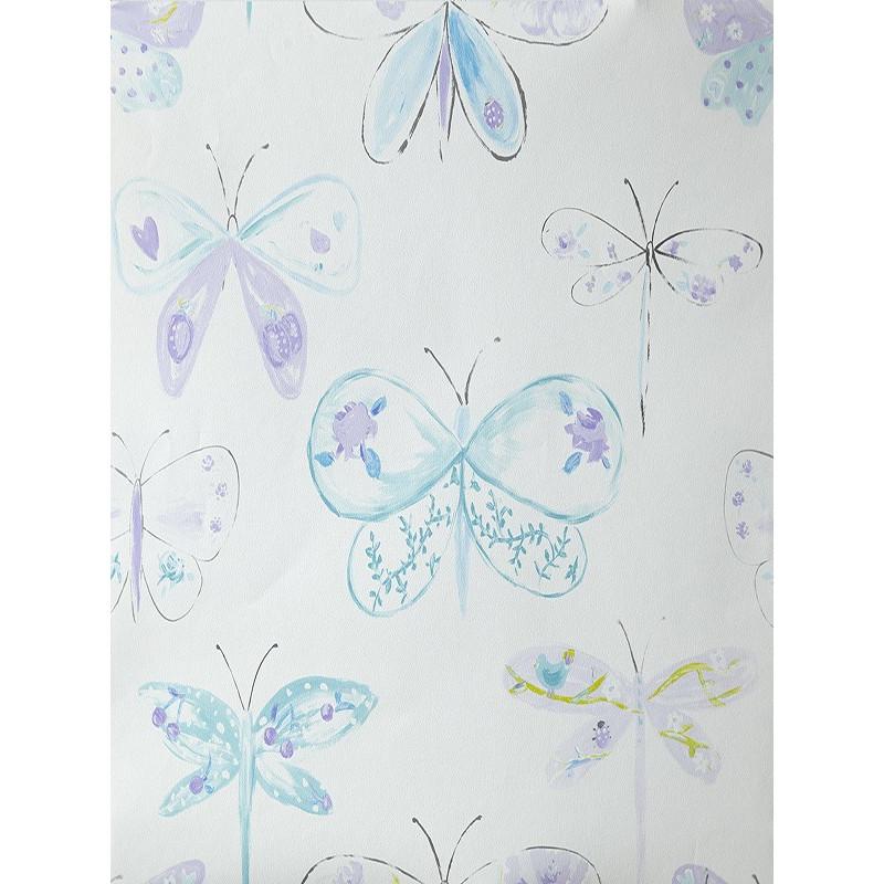 """Papier peint OH LA LA """" Libellules """" bleu et violet par Caselio"""