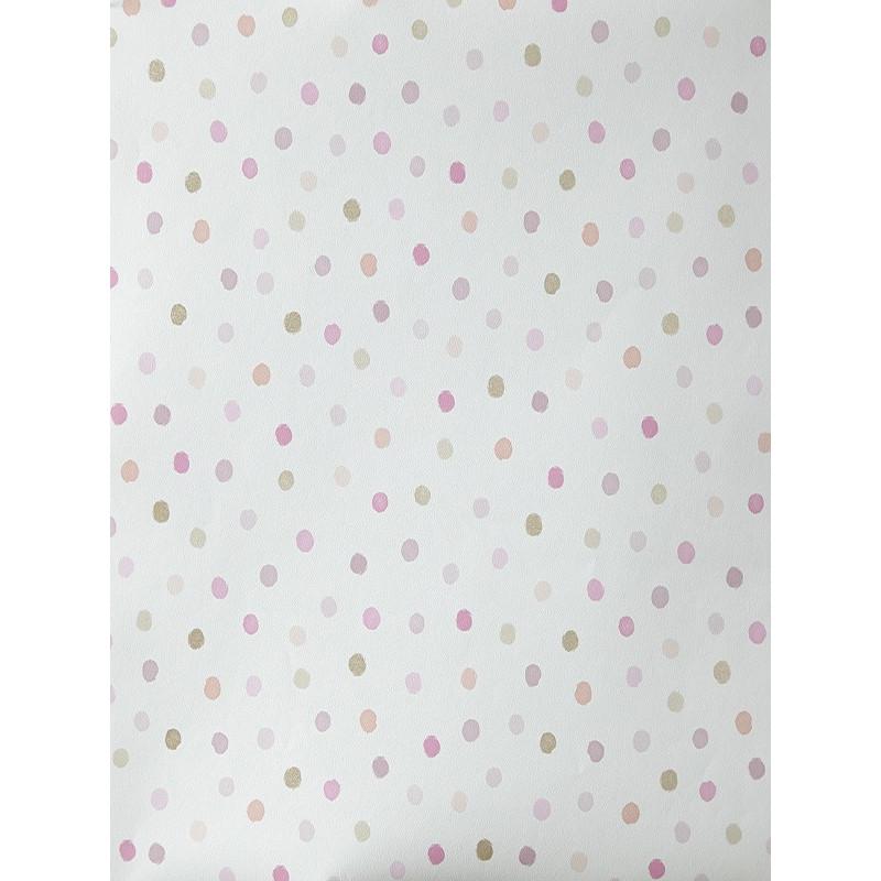 """Papier peint OH LA LA """" Confettis """" rose, violet et beige par Caselio"""
