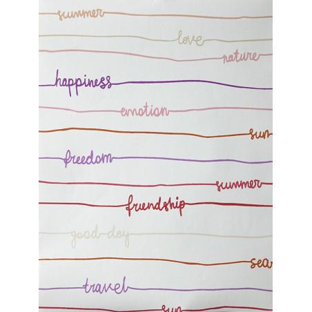 """Papier peint OH LA LA """" stripe words """" tons vifs par Caselio"""