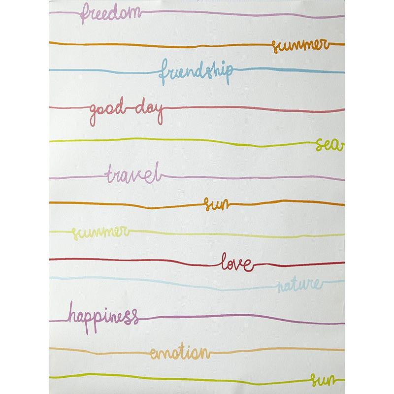 """Papier peint OH LA LA """" stripe words """" multicolore par Caselio"""