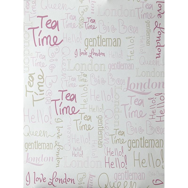 """Papier peint OH LA LA """" wording london """" beige et rose par Caselio"""