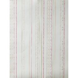 """Papier peint OH LA LA """" Rayures aqua """" rose et beige par Caselio"""