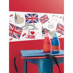 """Frise OH LA LA """" London """" rouge et bleue par Caselio"""