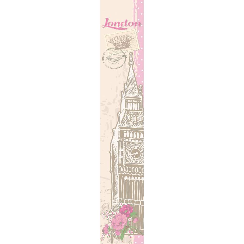 """Panoramique OH LA LA """" My London """" beige et rose par Caselio"""