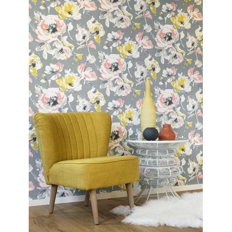 """Papier peint AMAZING """" All over fleur """" jaune/corail par Casadeco"""