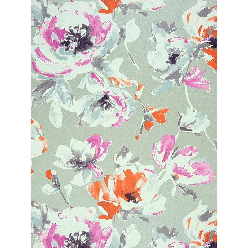 """Papier peint AMAZING """" All over fleur """" violet/corail par Casadeco"""