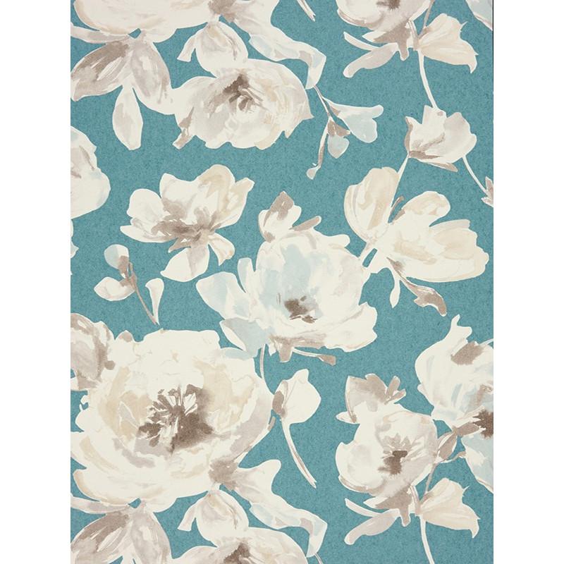 """Papier peint AMAZING """" All over fleur """" turquoise par Casadeco"""