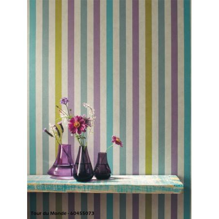 Papier peint Stripe - TOUR DU MONDE - Caselio
