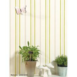 Papier peint à rayures vertes - ROMARIN - Caselio