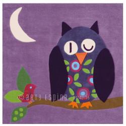 Tapis enfant Chouette violette - Joy - Arte Espina