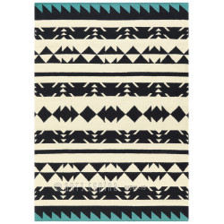 Tapis Ethnique triangles noir et bleu - Collection Craft - Arte Espina