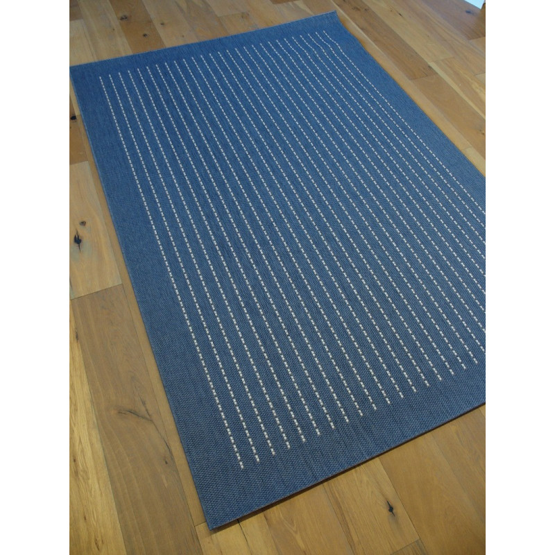 tapis naturel tiss plat bleu pointill s beige essenza. Black Bedroom Furniture Sets. Home Design Ideas