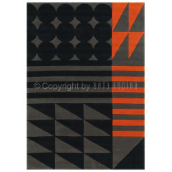 Tapis moderne SPIRIT - ETHNO POP orange et noir - Arte Espina