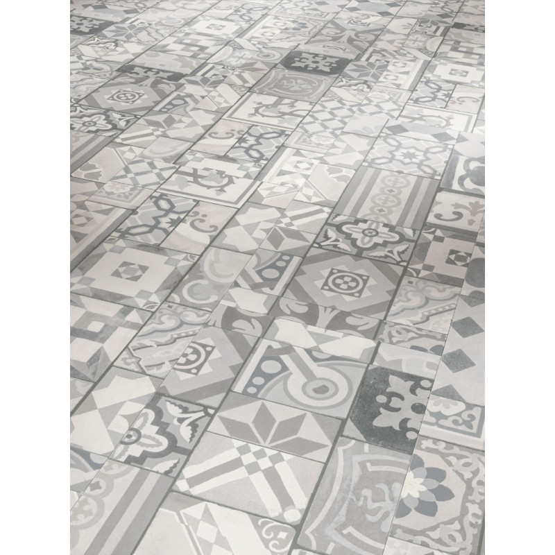 Parador trendtime lame vinyle clipser carreaux de ciment gris for Sol vinyle imitation carreau de ciment