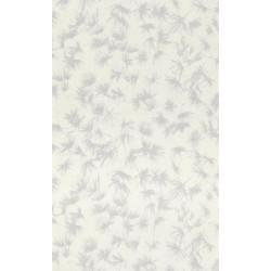 Papier peint fleuri ZAO - végétal blanc/gris métalisé