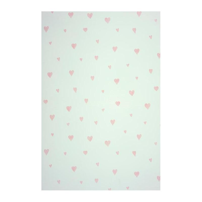 Papier peint ALICE et PAUL à motif coeur rose irisé - Casadeco