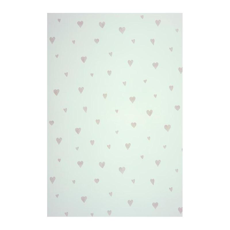 Papier peint ALICE et PAUL à motif coeur gris mat - Casadeco