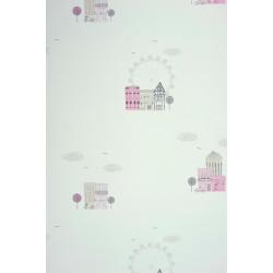 Papier peint Ville rose - ALICE ET PAUL - Casadeco - AEP28044325