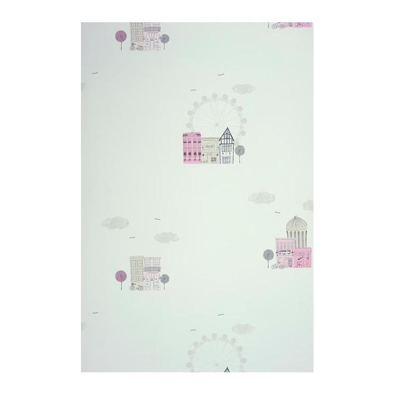 Papier peint ALICE et PAUL à motif ville rose - Casadeco