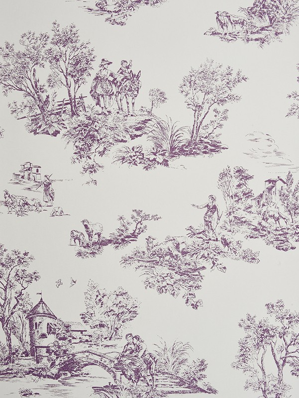 Papier peint motifs jouy mauve chantilly casadeco for Moquette grise texture